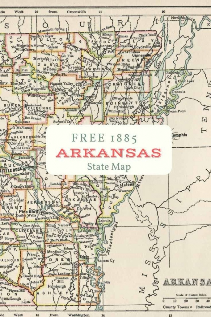Free Printable Old Map Of Arkansas From 1885. #map #usa | Maps And - Free Printable City Maps