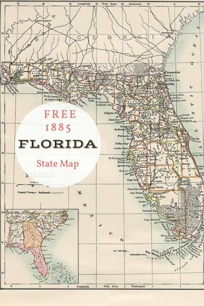 Free Printable Old Map Of Florida From 1885. #map #usa | Maps And - Antique Florida Maps For Sale