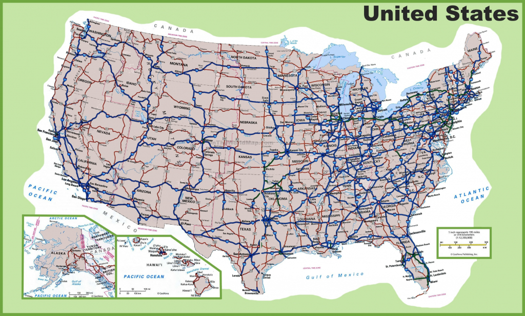 Free Printable Us Highway Map Cities Highways Usa Incredible At Of - United States Road Map Printable