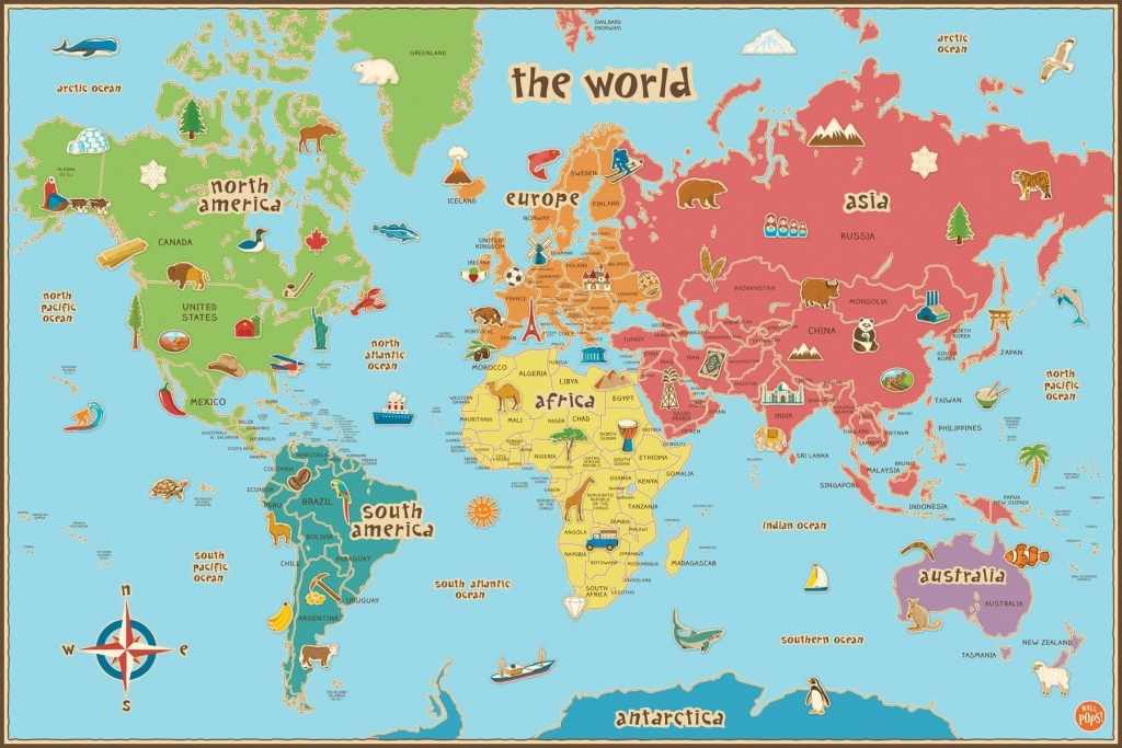 Free Printable World Map For Kids Maps And | Gary's Scattered Mind - Free Printable World Map Poster