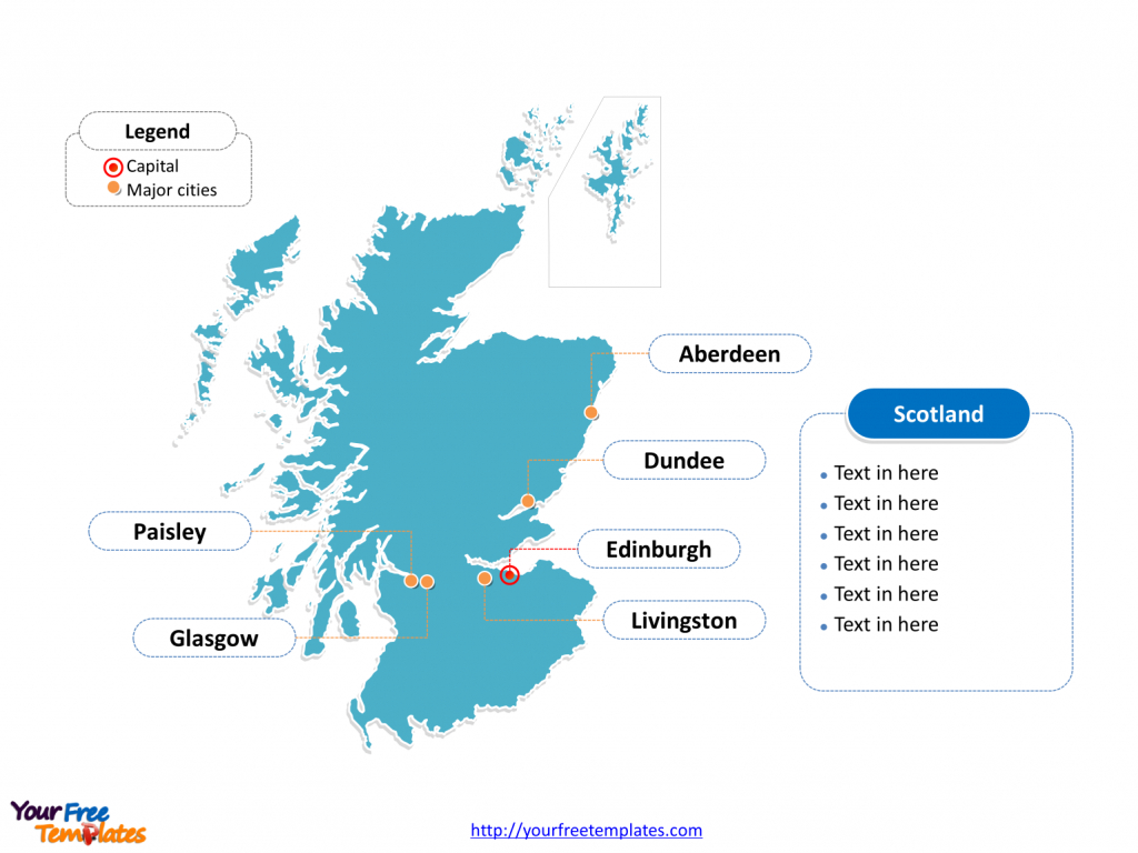 Free Scotland Editable Map - Free Powerpoint Templates - Printable Map Of Scotland With Cities
