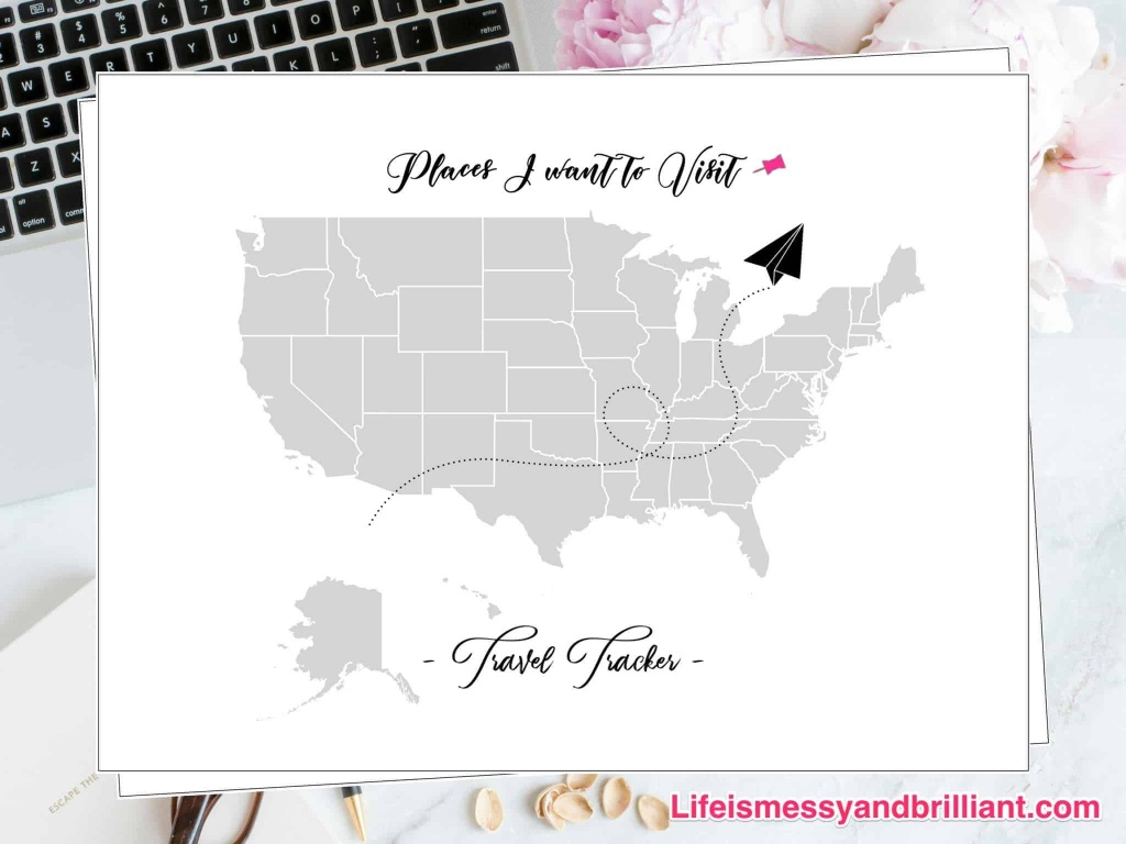 Free Travel Tracker Printable - United States Travel Map Printable