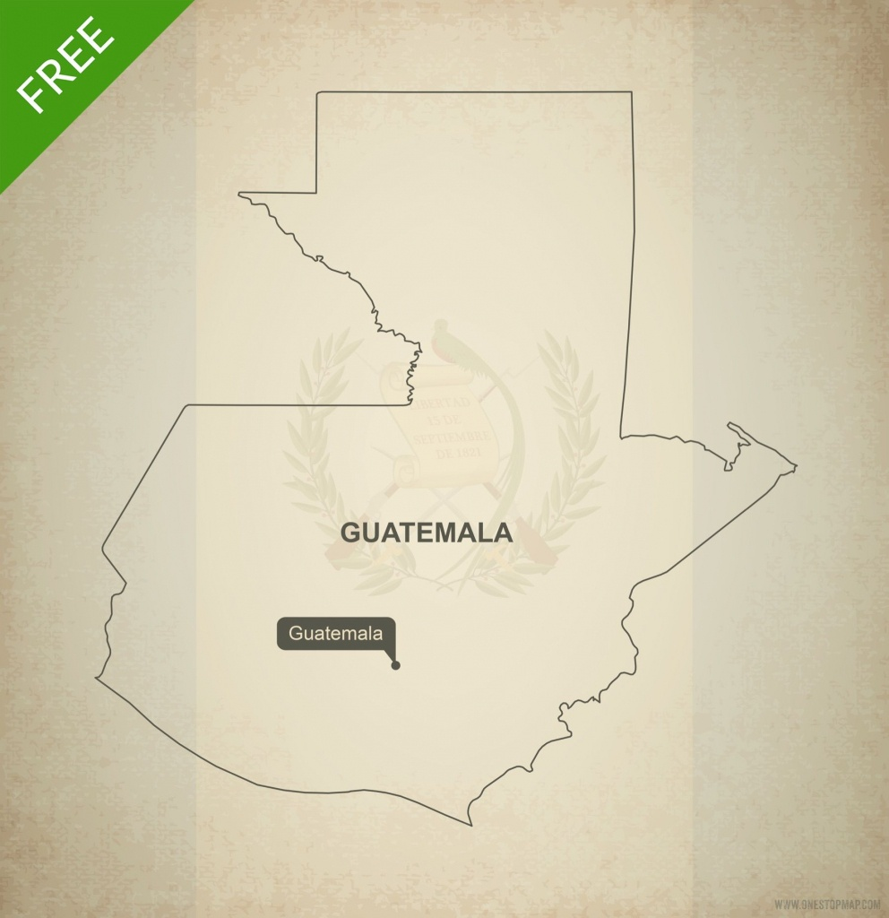 Free Vector Map Of Guatemala Outline | Crochet | Map Vector, Vector - Printable Map Of Guatemala