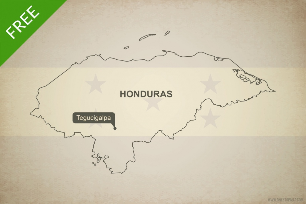 Free Vector Map Of Honduras Outline | One Stop Map - Printable Map Of Honduras