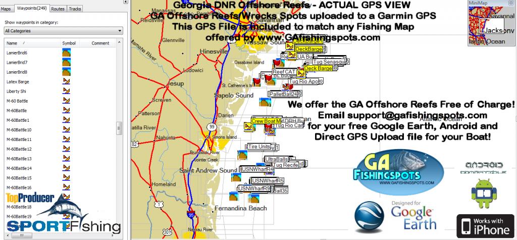 Ga Dnr Offshore Reefs Map « Guide To Coastal Georgia Fishing Spots - Florida Fishing Reef Map