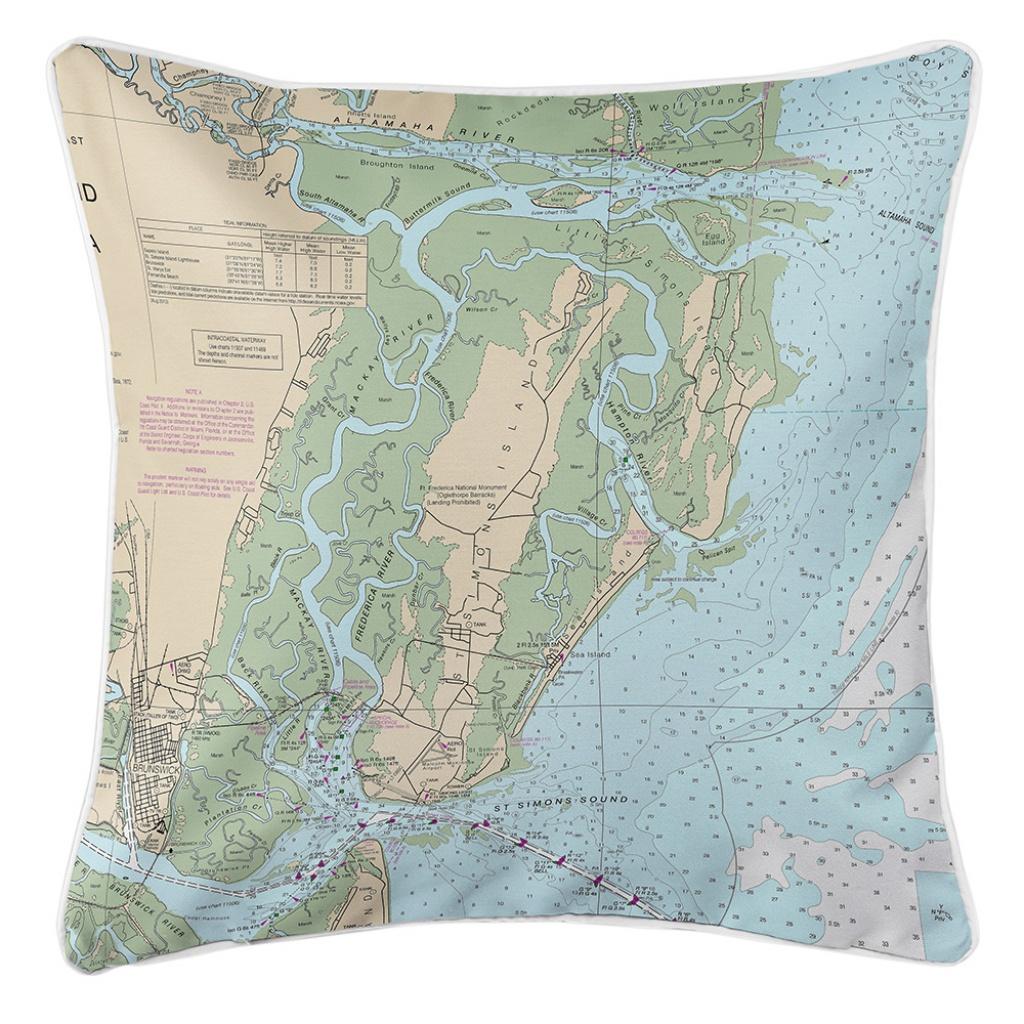 Ga: Saint Simons Island, Ga Nautical Chart Pillow - Printable Map Of St Simons Island Ga