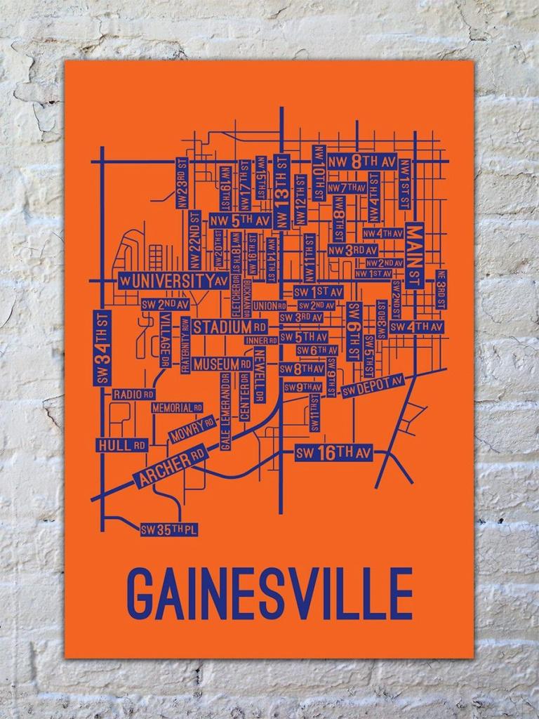 Gainesville, Florida Street Map Print | Art That Inspires Me - Map Of Gainesville Florida And Surrounding Cities