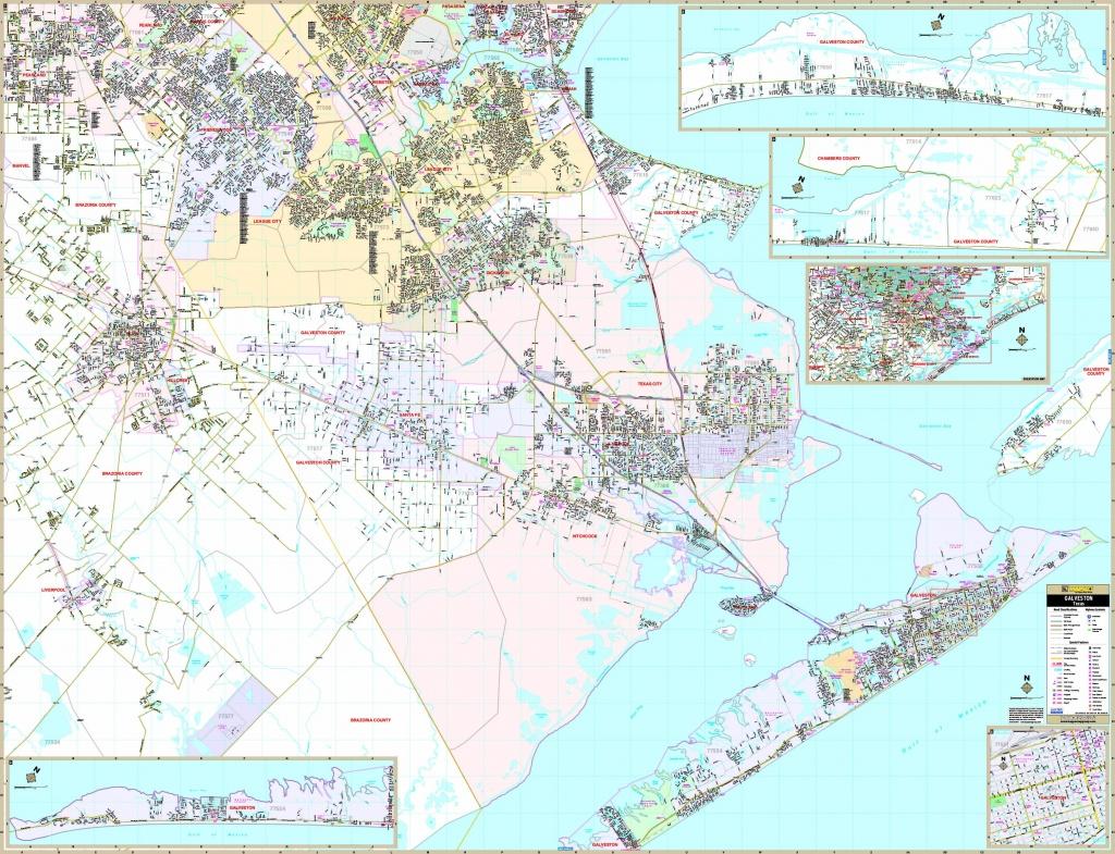 Galveston, Tx Wall Map - Maps - Texas Galveston Map