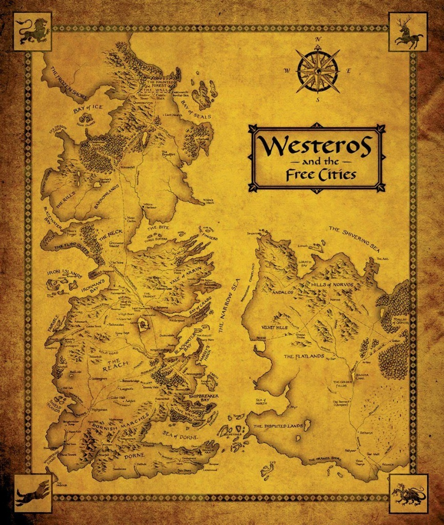 Game Of Thrones Map - Westeros And The Free Cities. Need To Get - Game Of Thrones Printable Map