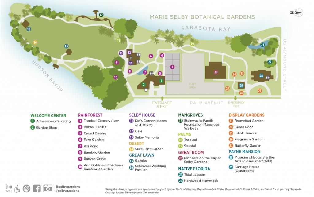 Garden Map - Marie Selby Botanical Gardens - Florida Botanical Gardens Map