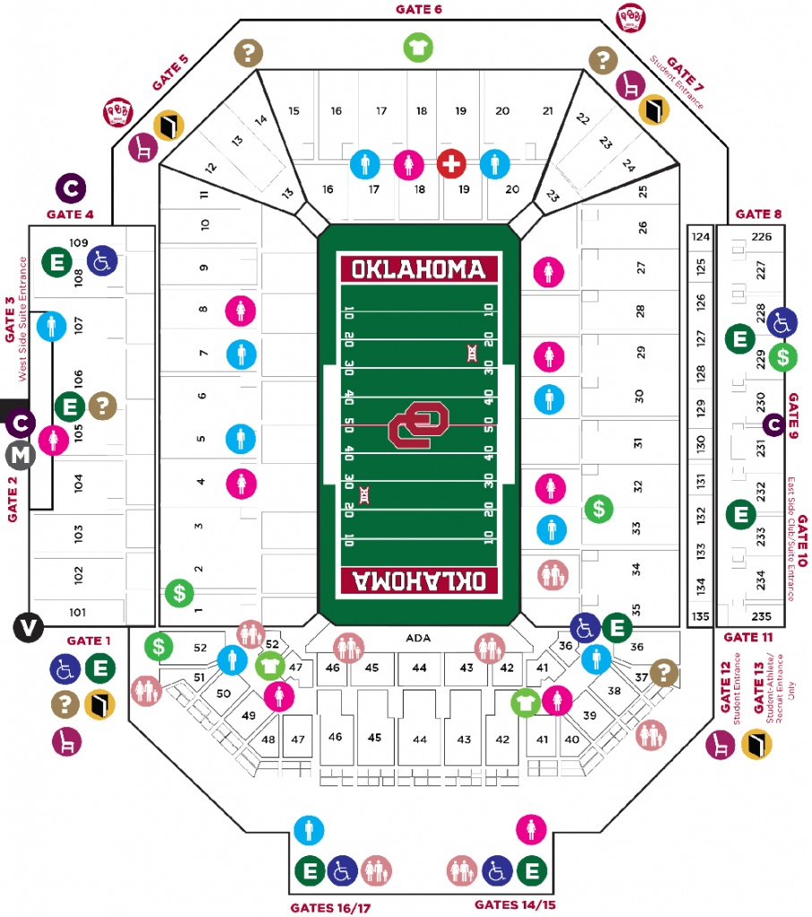 Gaylord Family - Oklahoma Memorial Stadium - The Official Site Of - Texas Memorial Stadium Map