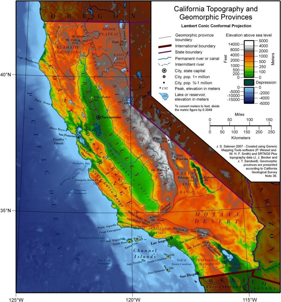 Geography Of California Google Maps California Southern California - Baja California Topographic Maps