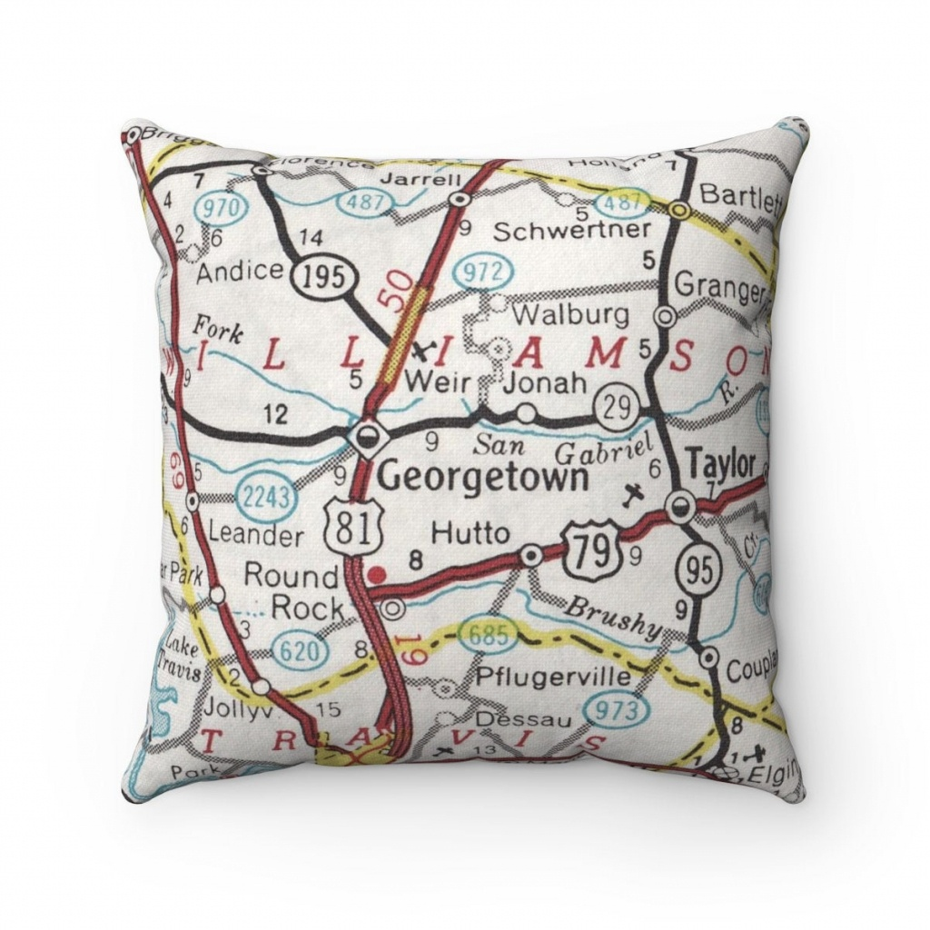 Georgetown Texas Vintage Map Pillow Georgetown Pillow | Etsy - Texas Map Pillow