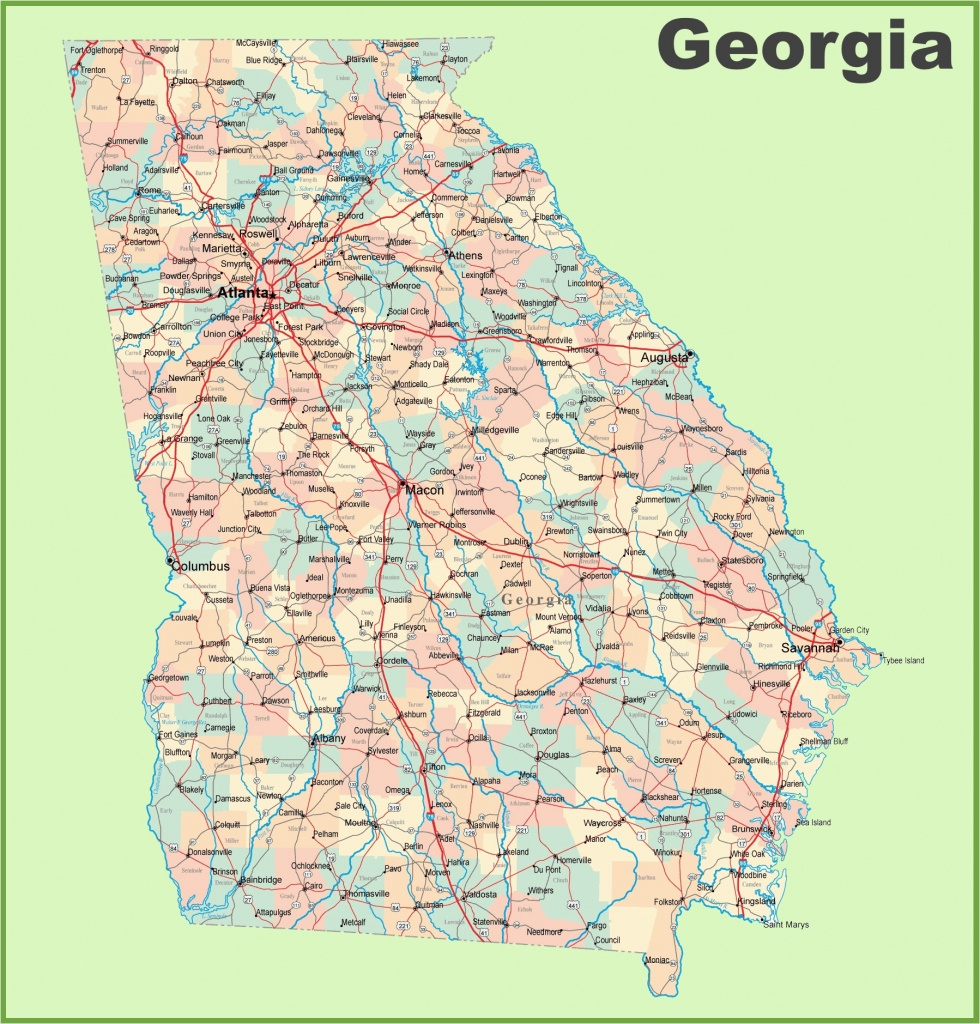 Georgia County Map Printable Georgia Road Map With Cities And Towns - Printable Map Of Columbus Ga