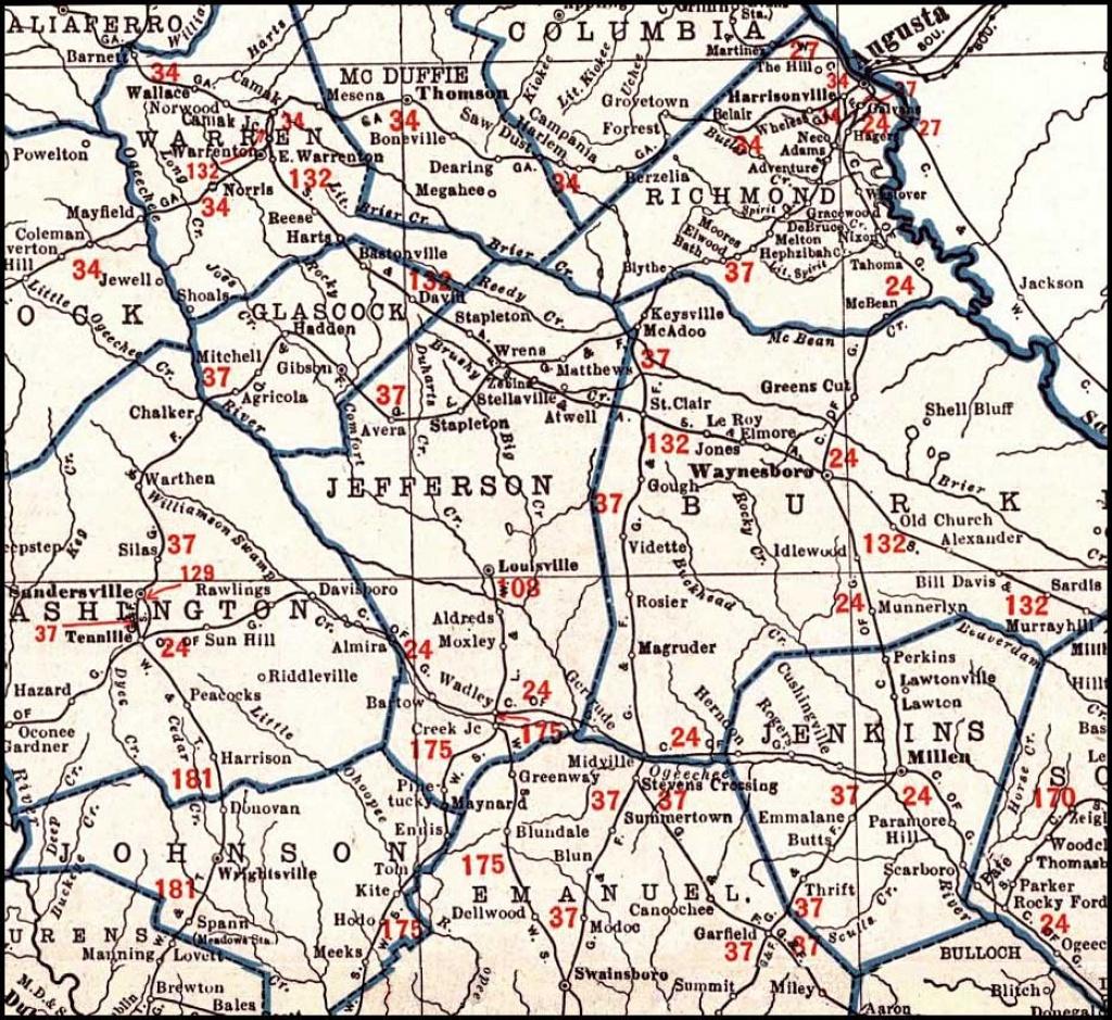 Georgia & Florida Railroad 1926 Map, Swainsboro To Augusta - Map Of Georgia And Florida