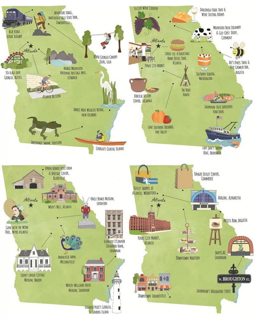 Georgia Illustrated Tour Maps, Usa, Atlanta, Macon, Savannah - Printable Map Of Macon Ga
