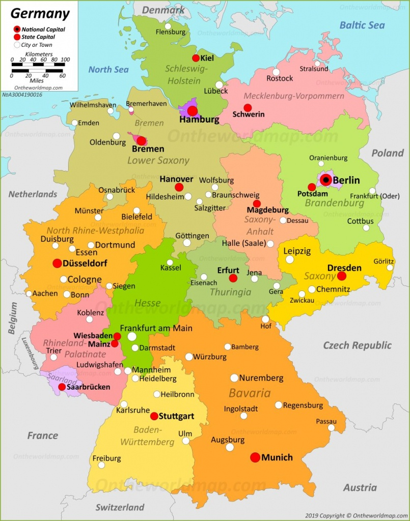 Germany Maps | Maps Of Germany - Printable Map Of Germany With Cities And Towns