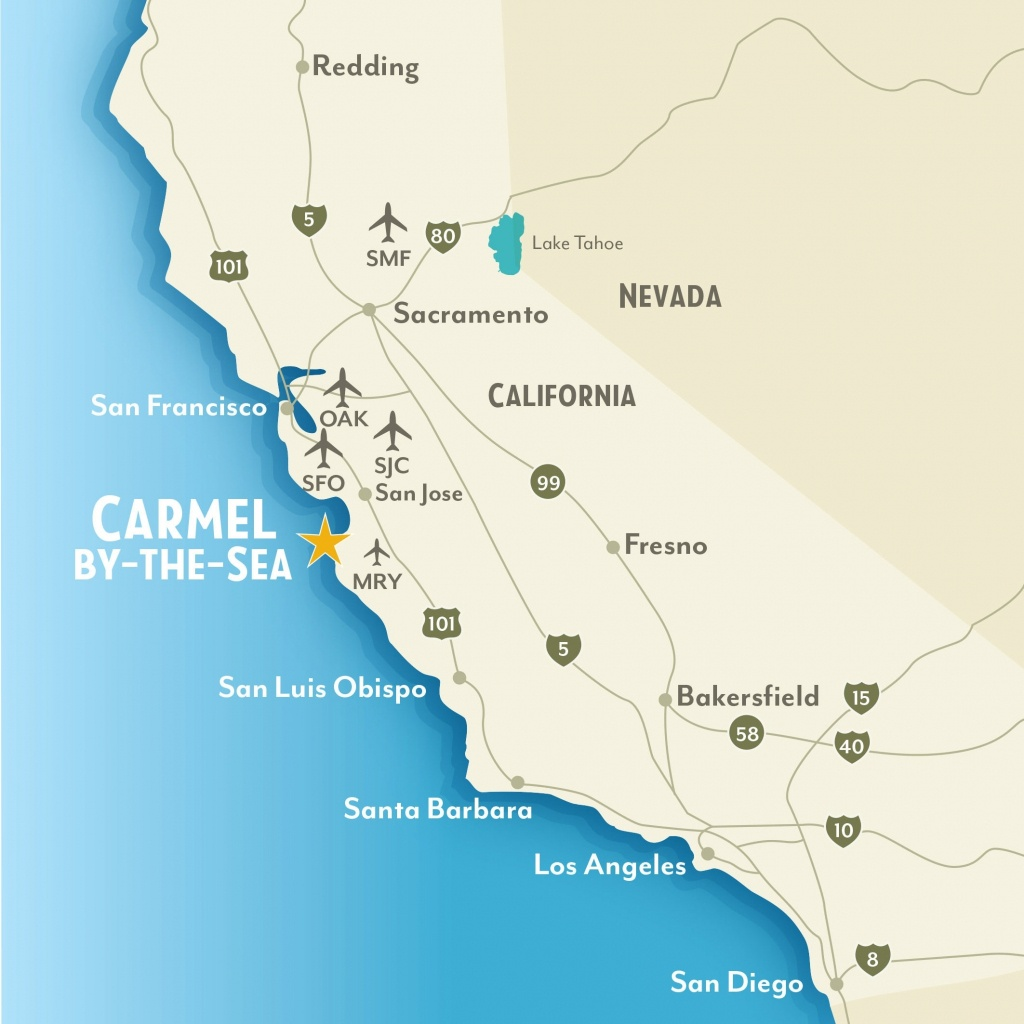 Getting To & Around Carmel-By-The-Sea, California Throughout Map Of - Carmel California Map