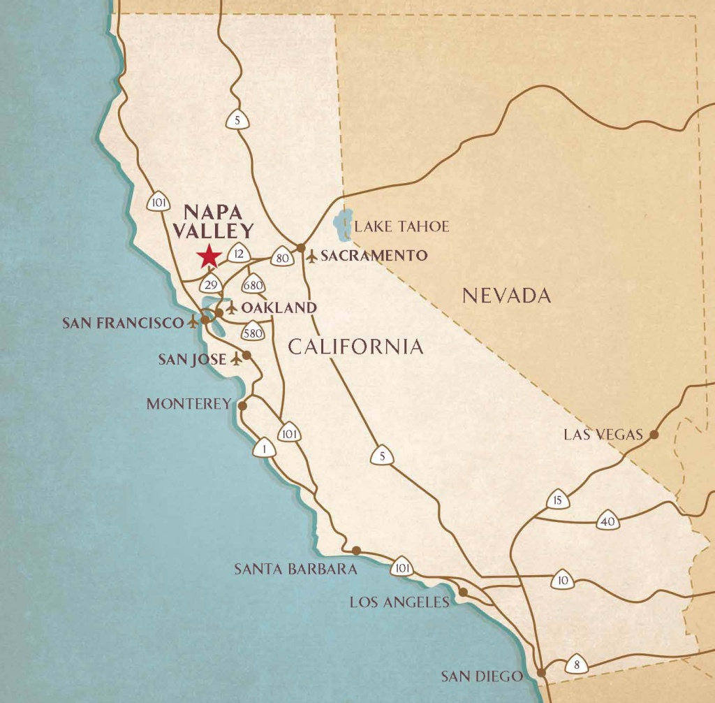 Getting To The Napa Valley | Airports, Transportation Services - Where Is Yountville California On The Map