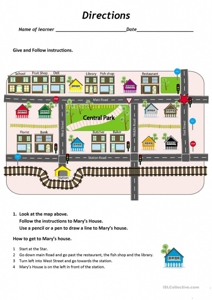 Give And Follow Directions On A Map Worksheet - Free Esl Printable - Free Printable Direction Maps
