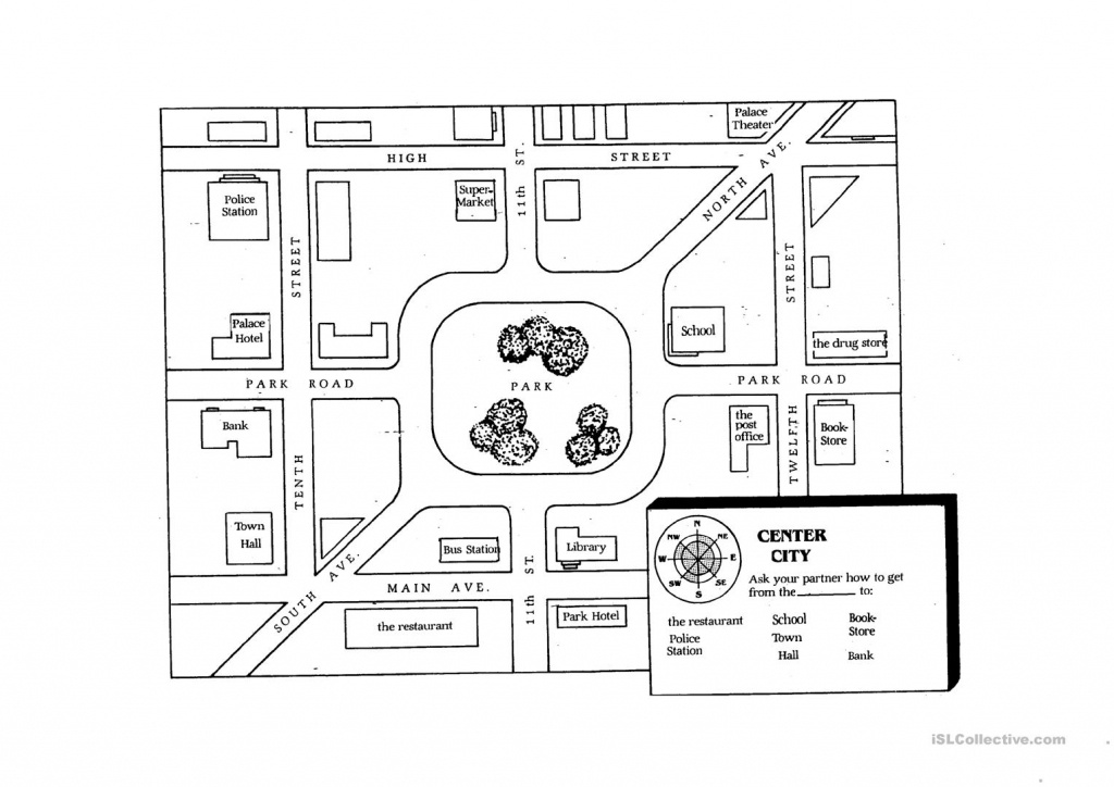 Giving Directions Student Map Worksheet - Free Esl Printable - Free Printable Direction Maps