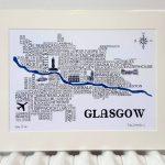 Glasgow Word Map   Adrian Mcmurchie   The Glasgow Illustrator   Sat Nav With Florida Maps