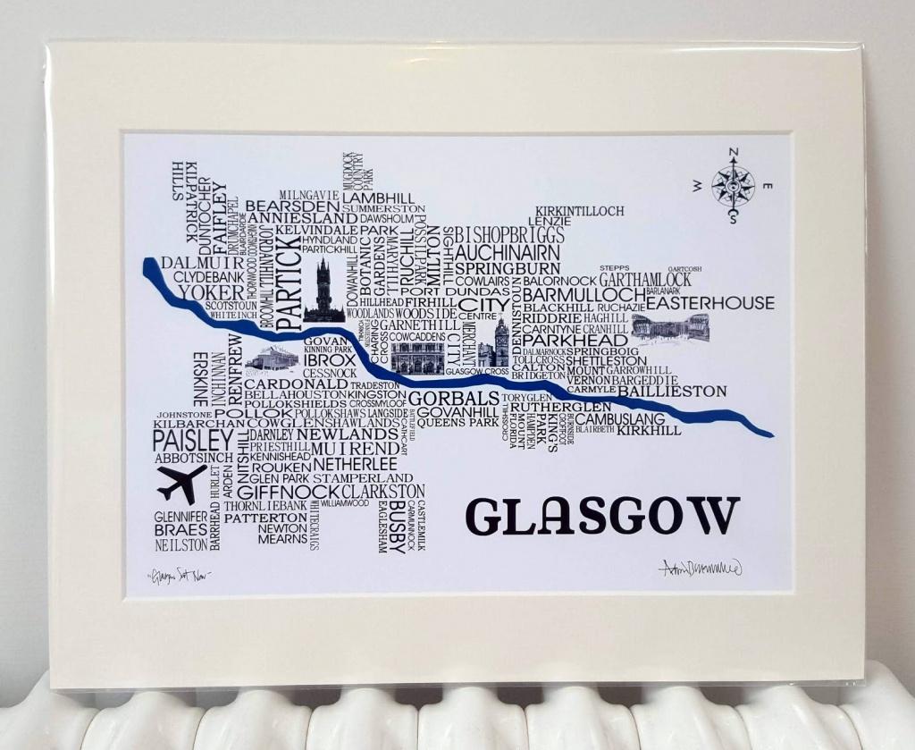 Glasgow Word Map - Adrian Mcmurchie - The Glasgow Illustrator - Sat Nav With Florida Maps
