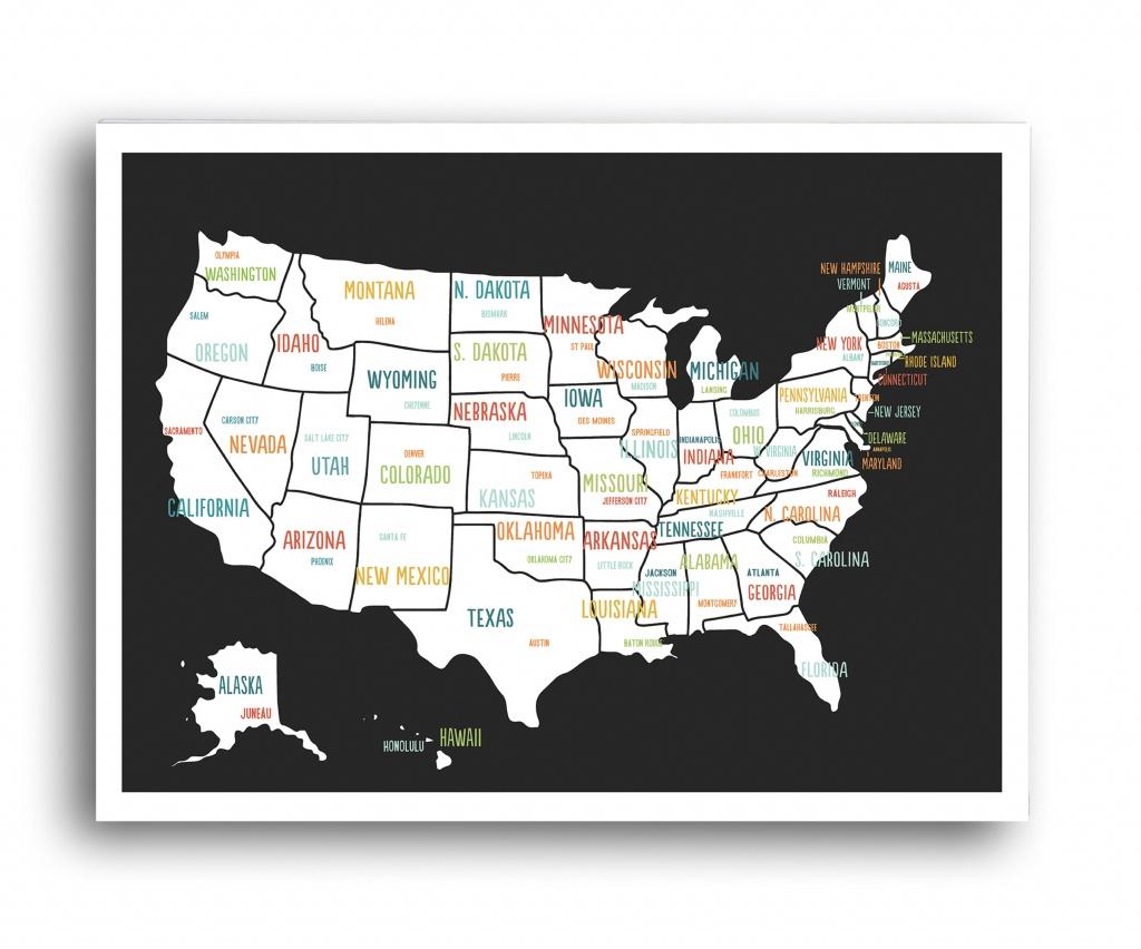 Globalartisancollective 'united States Travel Map' Graphic Art Print - United States Travel Map Printable