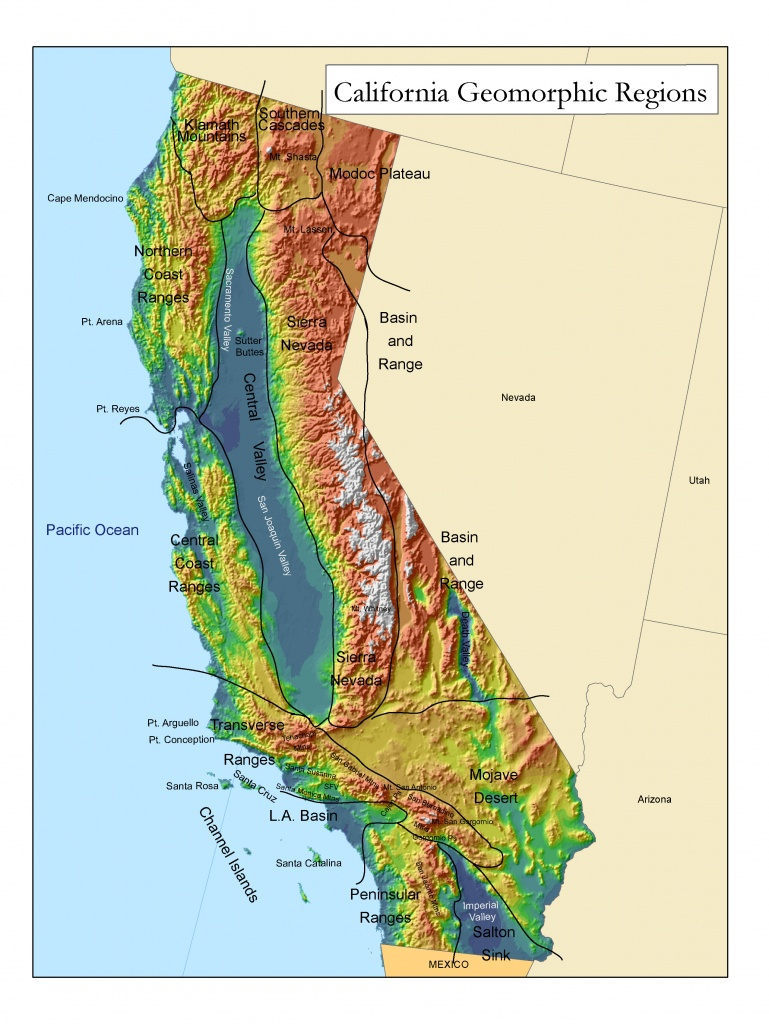 Golden State Online - California Relief Map Printable