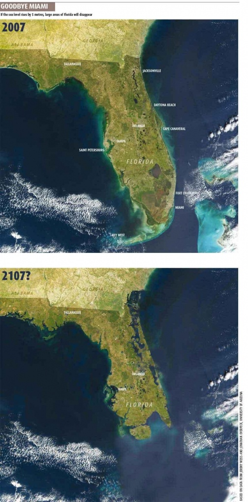 Goodbye, Southern Florida   Later On - Florida Map After Global Warming
