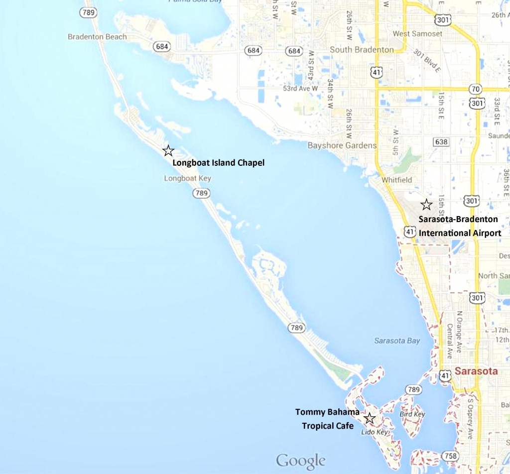 Google Map - Sarasota, Lido Key, Longboat Key, And Anna Maria Island - Longboat Key Florida Map