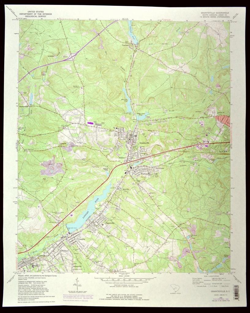 Graniteville Map Of Graniteville South Carolina Art Print Wall   Etsy - Brookgreen Gardens Printable Map