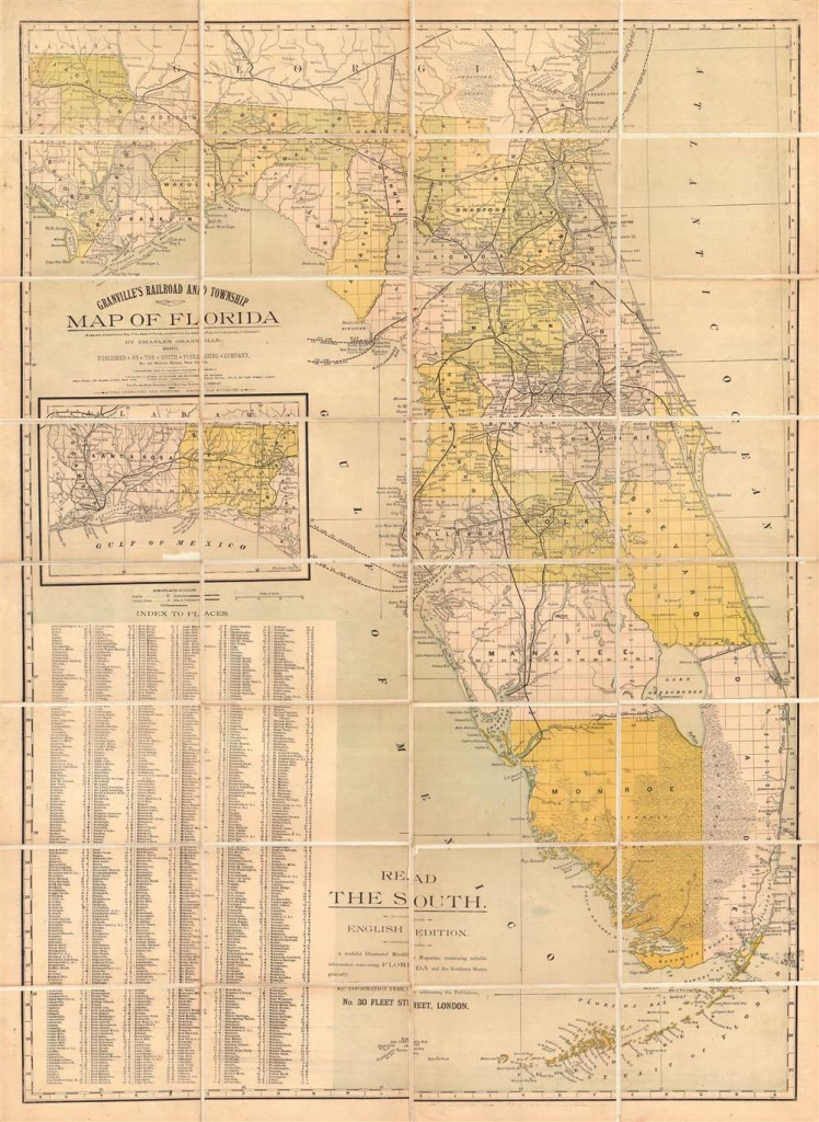 Granville's Railroad And Township Map Of Florida.: Geographicus Rare - Antique Florida Maps For Sale