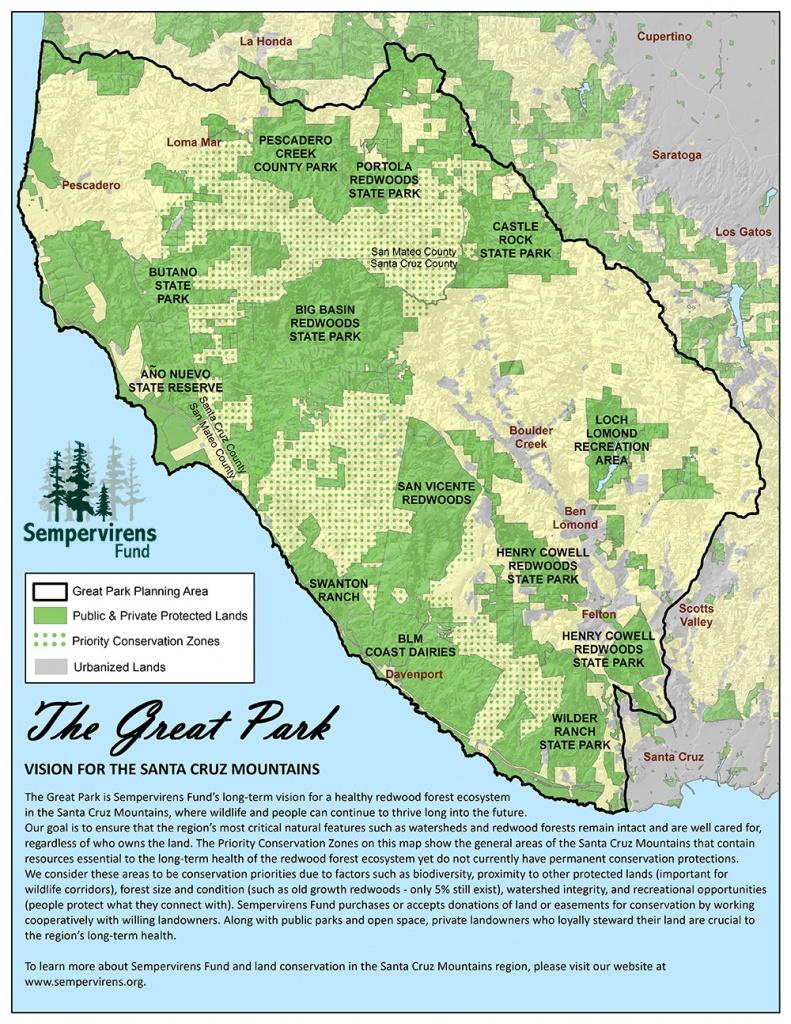 Great Park Map - Santa Cruz Mountains   Sempervirens Fund - Redwood Forest California Map