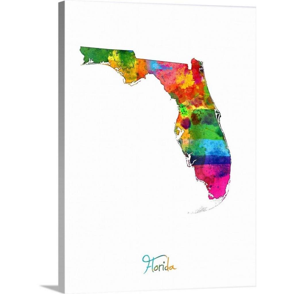 "Greatbigcanvas ""florida Map""michael Tompsett Canvas Wall Art - Florida Map Art"