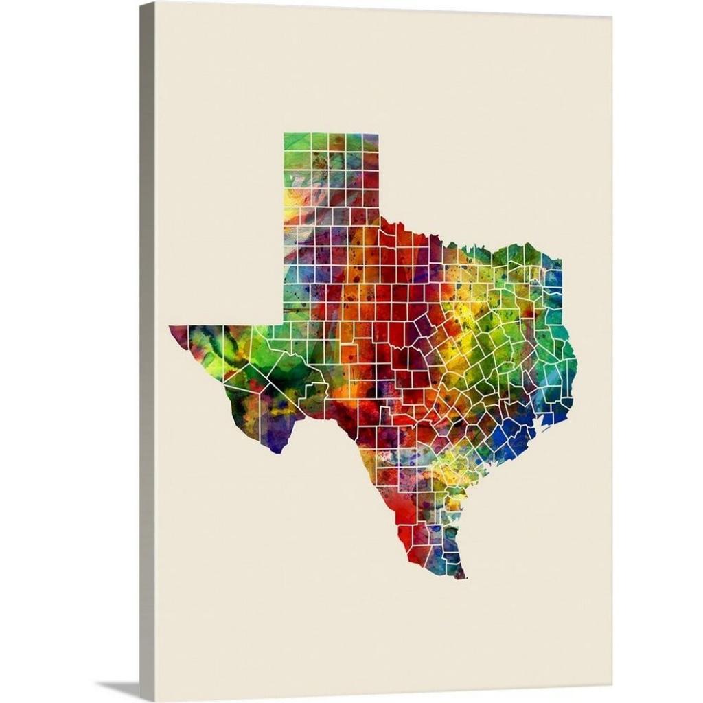 "Greatbigcanvas ""texas Watercolor Map""michael Tompsett Canvas - Texas Map Wall Art"