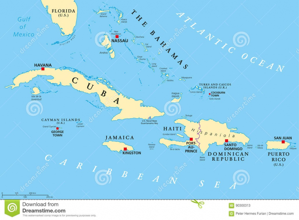 Greater Antilles Political Map Stock Vector - Illustration Of Cayman - Map Of Florida And Bahamas
