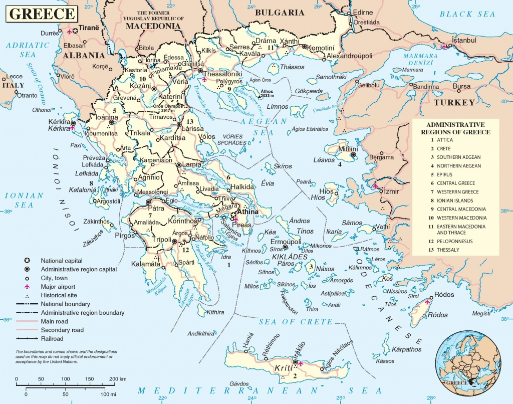 Greece Road Map - Printable Map Of Greece
