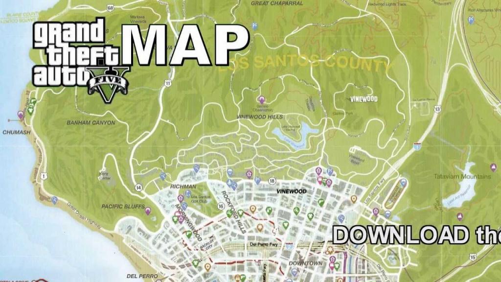 Gta 5 Full Size Game Map - Youtube - Gta 5 Map Printable