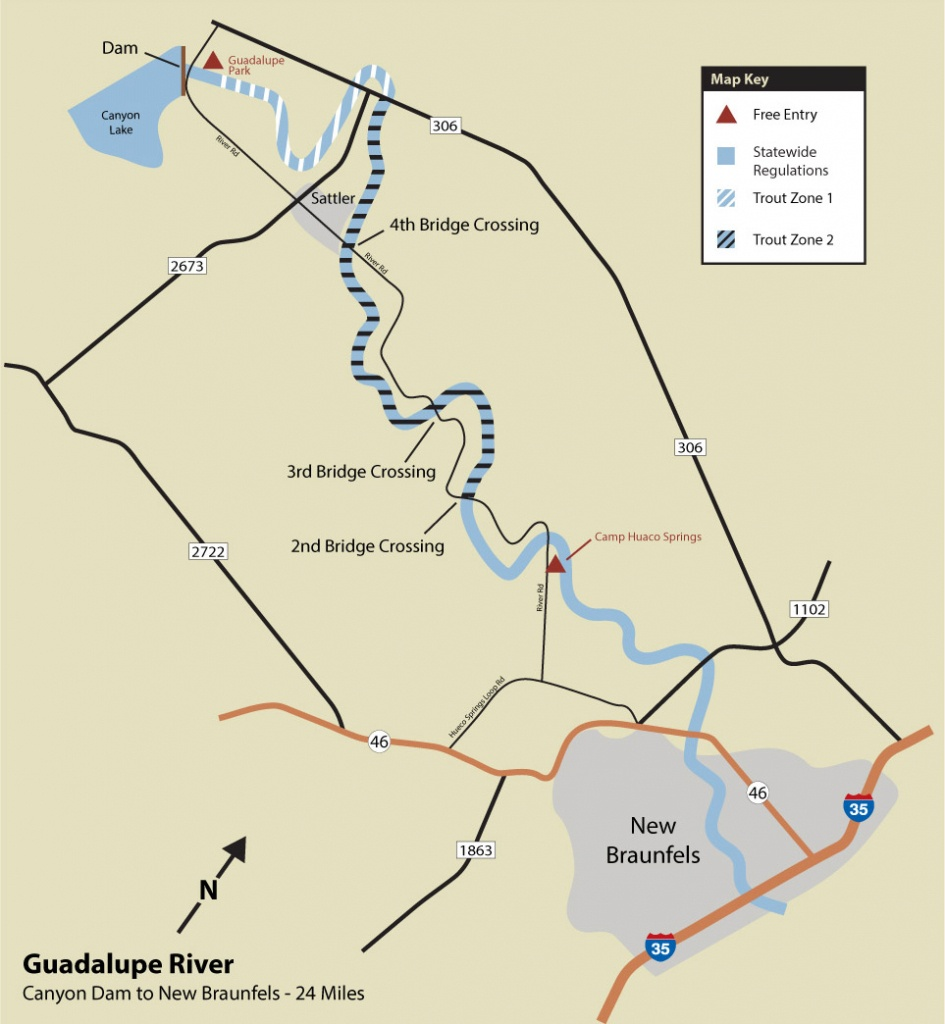 Guadalupe River Trout Fishing - Texas Wade Fishing Maps