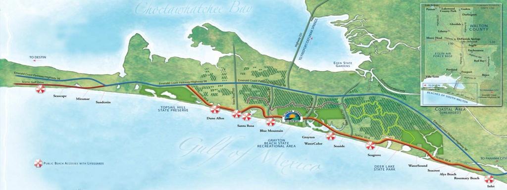 Guide To South Walton Florida Beaches   30A Beaches Map - Where Is Seacrest Beach Florida On The Map