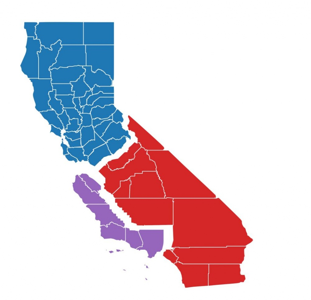 Had California Been 3 States In June's Primary, Here's Who Would - Three State California Map