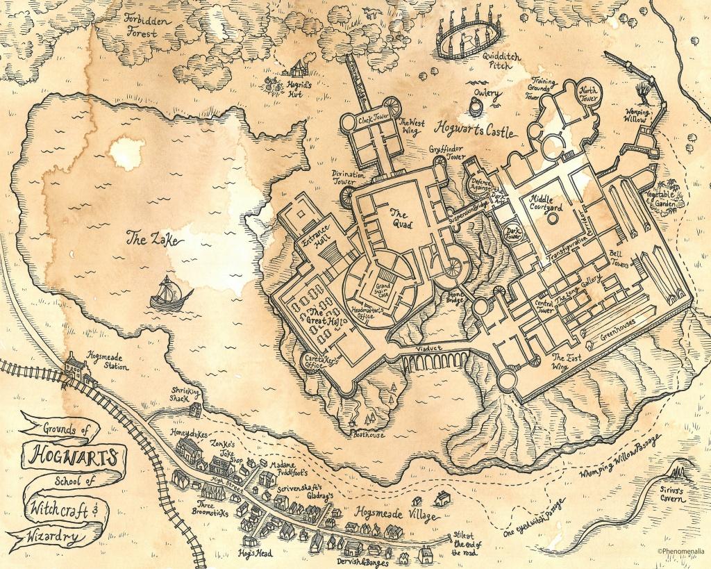 Hand Drawn Harry Potter Map Of Hogwarts Print | Etsy - Hogwarts Map Printable