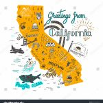 Hand Drawn Illustration California Map Tourist Stock Vector (Royalty   California Tourist Map
