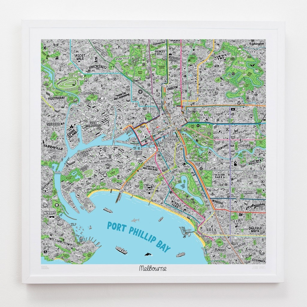 Hand Drawn Map Of Melbourne Art Print   Art Prints, Stationery - Printable Map Of Melbourne