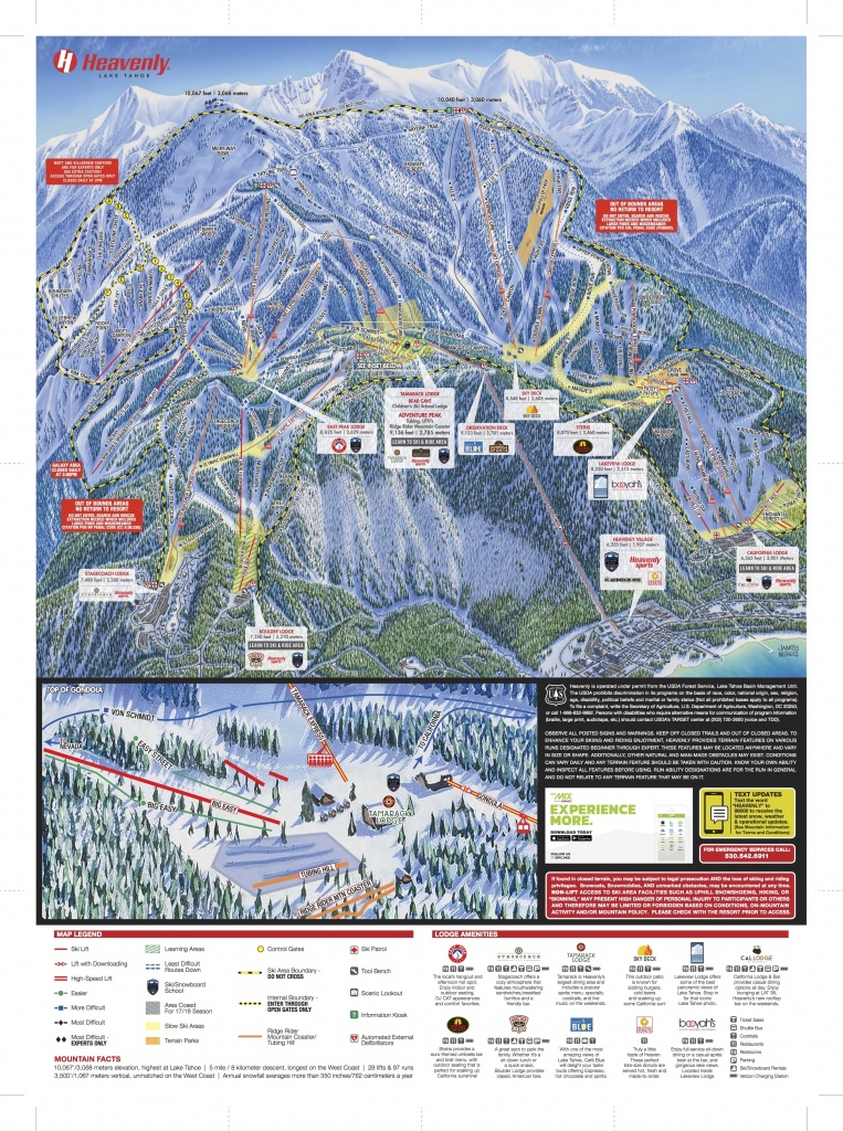 Heavenly Mountain Resort Trail Map | Onthesnow - Southern California Trail Maps
