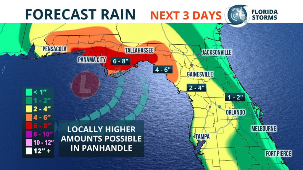 Heavy Rain, Possible Flooding This Weekend - Florida Storms - Emerald Coast Florida Map
