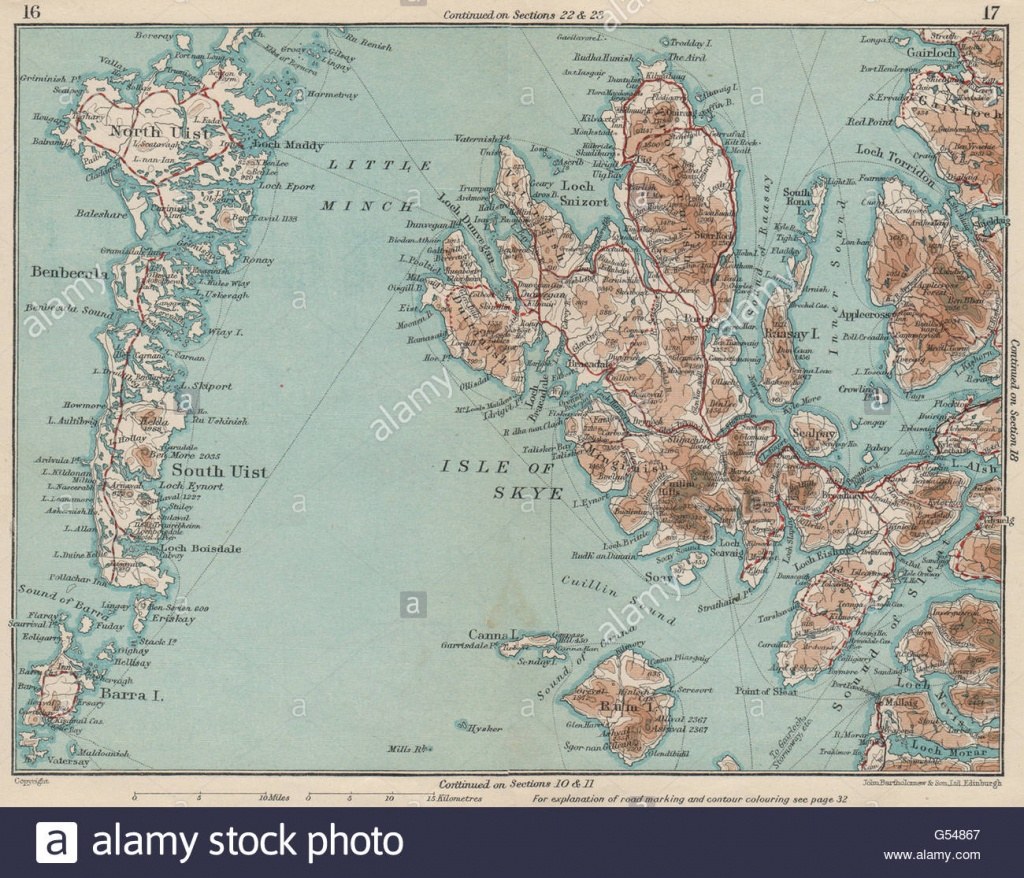 Hebrides Western Isles. Skye North & South Uist Rhum. Scotland, 1932 - Printable Map Skye