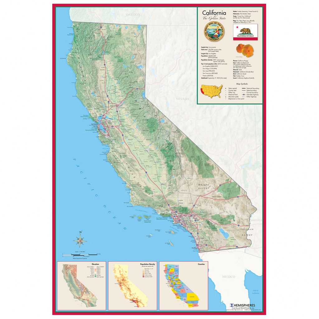 Hemispheres California Wall Map » Round World Products - Laminated California Map