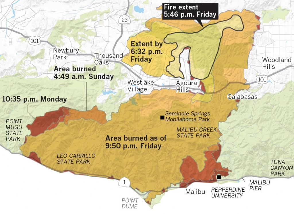 Here's Where The Woolsey Fire Burned Through The Hills Of Southern - Southern California Fire Map